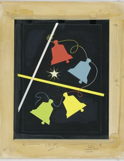 Collaged pieces of paper in the shape of bells in red, yellow, blue, and green on a black ground. Graphite notations at right and lower margins.