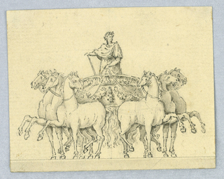 Chariot shown de face. Six horses, each with a rasied leg. At center, a figure in classical dress.