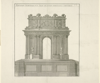 Elevation of a garden pavilion with an archway, four double columns and two female statues.  Inscription across the top margin.