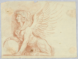 Sphinx with woman's head, body of a lion, and wings.