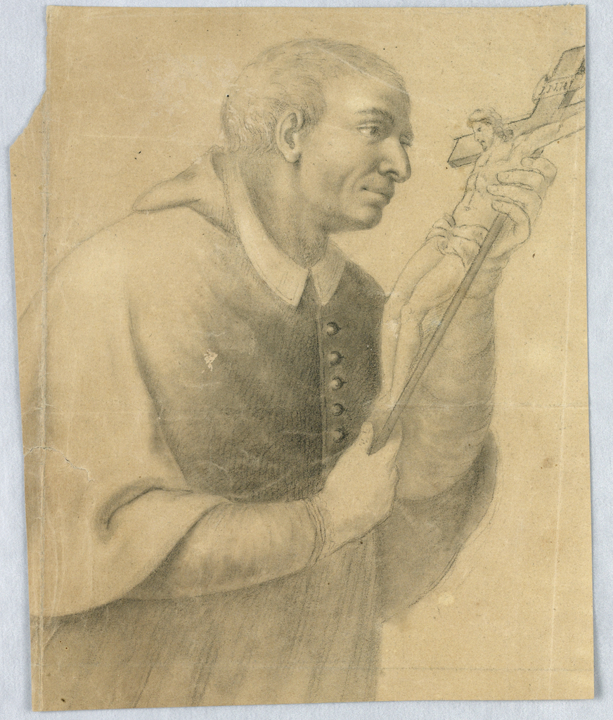 Sketch of a man holding and looking at a small crucifrix.