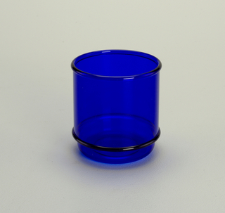 Transparent blue low tumbler with molded horizontal bands