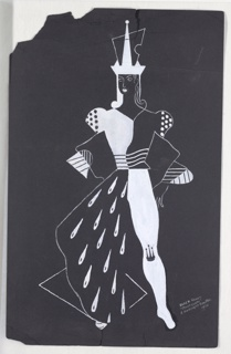 "Costume design for the Black Queen in the ballet ""Checkmate"" in white. The Queen wears an abstract crown and stands facing forward, with hands on hips. The Queen's left leg is clad in a white stocking marked with a black crown at the knee. The Queen's lower, right torso is covered with a flowing black cape decorated with white teardrop-shaped forms. The Queen's jacket is asymmetrically divided into white and black sections."