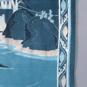 Horizontal rectangular silk mural. Shore line of Bermuda with a sail boat in foreground, large rocks in middle ground along shore and small houses on hill in background against sky with clouds. Borders make up of a curving wave enclosing a fish and occasional snail. Colors predominately blue/green with touches of light salmon. Lined with light blue with Chinese floral pattern. Slightly faded. Hanging tape attached.