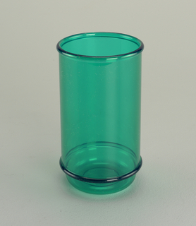 Transparent green tall tumbler with molded horizontal bands