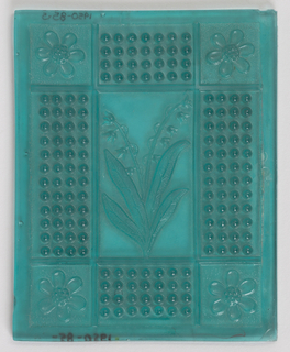 Blue-green. Design in nine panels: central panel of lily-of-the-valley; flanking panels of raised hobnails; corner panels of one daisy each.
