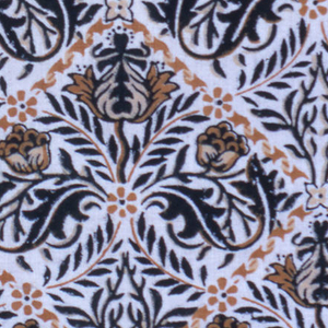 Medium-scale all-over symmetrical design of trellis framework in tans, each diamond containing a stylized flower and leaf pattern in tans and dark blue. Plain wide unprinted selvedge.