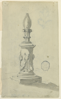 Design for a pillar on a square base decorated with bucranium and swags. Flame form at top.