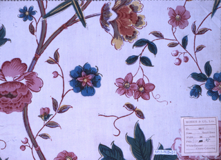 Flowering branches in chinoiserie style, in bright blue, green, yellow, red and pinks with dark green outlines, on a white ground.