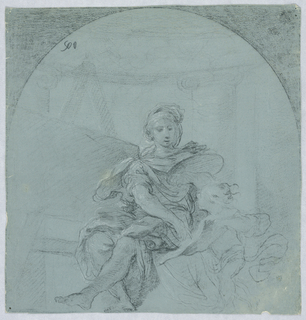Vertical rectangle showing a female painter beside an easel, pointing at a sheet of paper brought to her by a child or putto. A colonnade is shown in the background. Above is outlined as a niche.