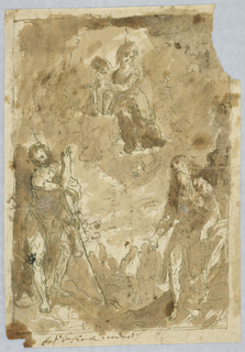 Loose drawing showing Mary and Christ child on clouds at center. Below, Saints Roch and Benedict.