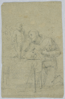 A man kneels, one hand to his chest, in front of a table upon which stands a putto.