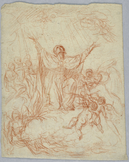 The Virgin shown kneeling upon a cloud and raising her face and arms. Surrounded by angels.