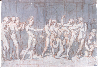 Nude figures.  At left, a group of four disciples.  Christ extends his left hand toward the woman, who kneels ashamed and points with the right hand to the turbulent group of men.  In the interval between Christ and the group at right, are, in the background, two women with a child.  An arcade is in the background.  ON the reverse a pencil sketch of one of the figures and in opposite directions, a red crayon sketch of a sitting figure under an arch.