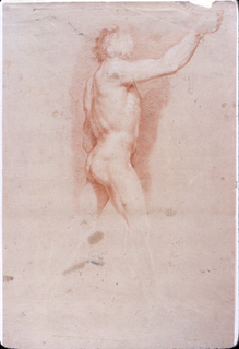 Vertical composition of a nude in a walking pose shown in profile from the right side. His right arm is raised and his head turned. The lower parts of the legs are outlined in white.