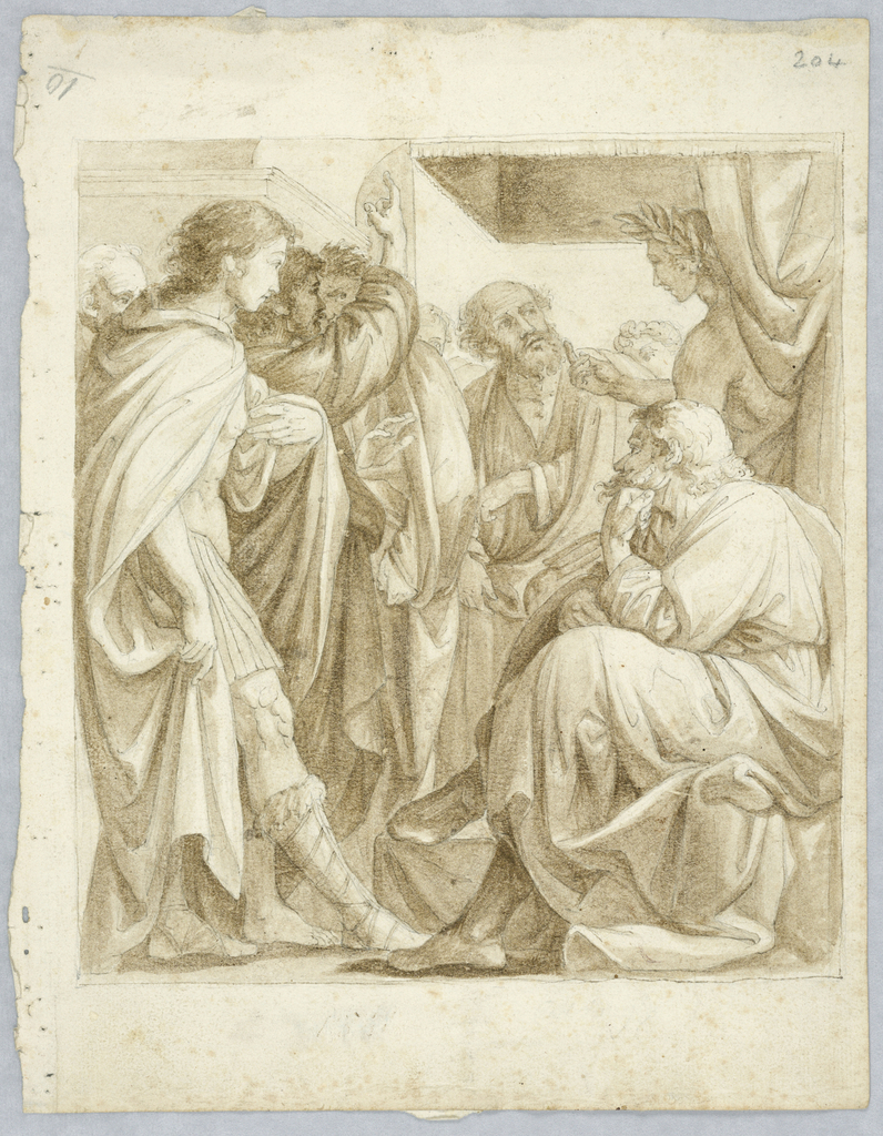 Group of men are conversing. Left to right:  man with long hair sticking his right leg forward, bearded man holds his left arm up, balding man in discussion with another figure with leaf crown, and a male figure sitting with his legs crossed, supporting his head with his right arm.
