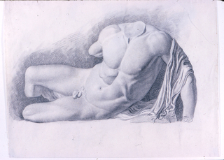"""Study of a statue of a reclining headless and partially armless nude. A drapery falls over his upper left arm. Verso: unfinished study of the """"Dying Gaul."""""""