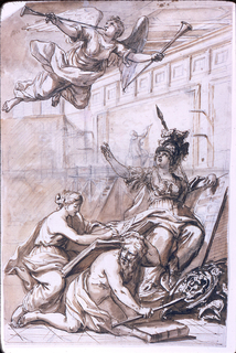 """Minerva dictating to Story, who writes """"I STUR[ia]"""" in a book which the kneeling Saturnus holds on his black.  A genius with two trumpets flies above.  The setting is in a hall with a painter sitting upon a scaffolding and painting a fresco.  Reverse:  pen and chalk sketches of a man climbing a ladder and carrying a package on his head.  Chalk outline of coffers of a ceiling."""