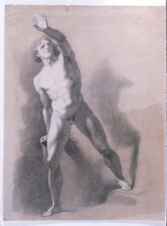A young male nude is seen standing, facing frontally. He is supporting himself with his right arm on a block behind him, and his left arm is raised before his face. His left leg is raised on a step. Verso: outline of the same figure in an identical pose.