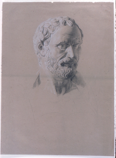 A bust of a bearded Senator is turned one-quarter to his left. His shoulders are indicated in light outline only.
