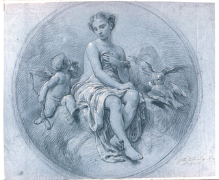 "Recto: Circular composition.  The goddess is sitting upon clouds, breasts and lap covered with a cloth.  Beside her, at left, Cupid, addressing her, at right the two doves.  Written below, at right: ""Soffitta teatro Argentina,"" and ""F. Grandi""  Verso:  In opposite direction: at left, the upper act of the Deposition.  At right: The Virgin, turned toward left; the right leg not drawn."