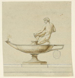 A burning lamp is shown in full length with the handle at right. A nude man kneels at right, holding a jar over the raised jet.