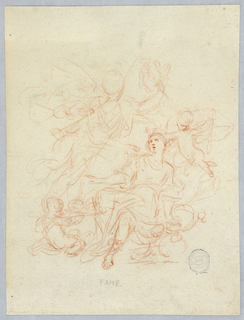 Seated, crowned figure surrounding by angel and two winged putti.