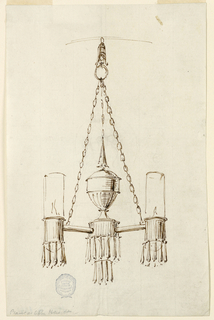 Design for a chandelier suspended from a ring with chains. Two arms with cylinder shades. Below, three groups of crystal drops.