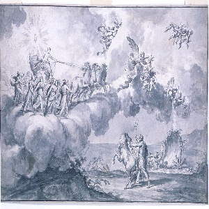 """Design is based on Guido Reni's """"Aurora,"""" Palazzo Rospigliosi, Rome. The clouds rise from the sea and carry Apollo in his chariot. He is accompanied by the Hours; the group is preceded by Aurora and two genii holding a jar and flowers. In the lower right, Neptune stands onshore; he holds the reigns of his horse and his trident."""