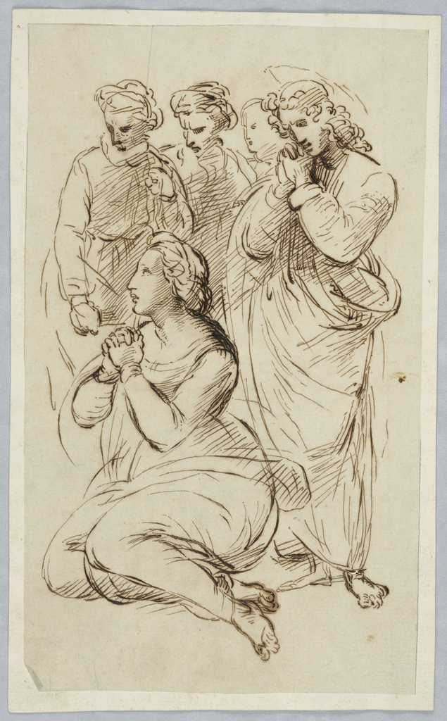 Two female figures are praying facing left. The woman on the left kneels while the one on the left is standing and a sketch of halo behind her head is visible. Three additional female figures are visible behind them, also staring left.