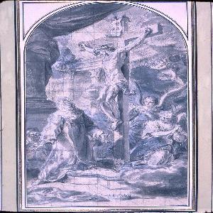 Drawing, Saint Jadwiga kneeling before the Crucified Christ