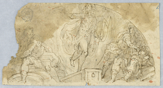 Drawing, Semi-circular Figural Scene with Central Figure Possibly Ascending