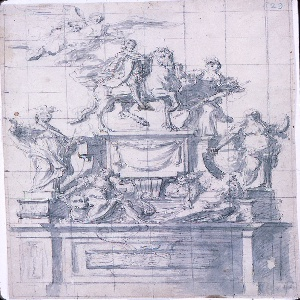 Drawing, Design for a Monument to Emperor Charles VI of Naples