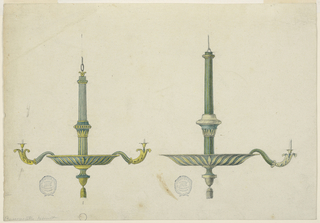 Two elevations for a candlestick, both with column-like shafts and wide drip pans at bottom. Hanging tassel. Left candelabra has two arms terminating in bronze acanthus leaves.