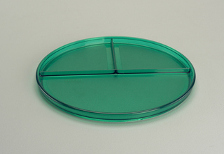 Transparent green plate with lip, divided into one large section and two smaller sections