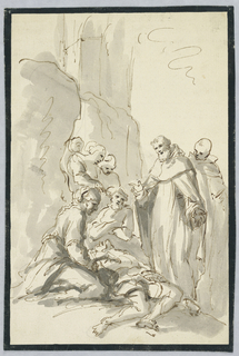 Figure group with a gesturing bearded man standing above an ill person on the ground.