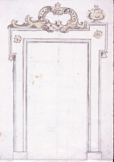 An escutcheon on top.  Flanked at right by an urn. Verso: Pencil measurements of a plan (?)