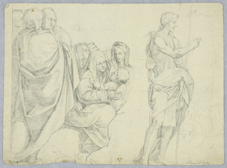 After a 1524 fresco by Andrea del Sarto (1486-1530) in the Cloister of Scalzo, Florence showing episodes of the Life of St. John the Baptist.