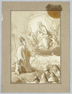Bishop with crook kneels before Mary, on a cloud with angels. Below, a group of figures, and a rainbow over a harbor scene.