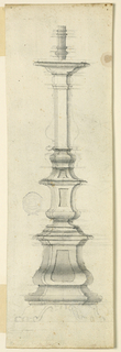 Elevation of a candlestick. Lightly sketched feet.