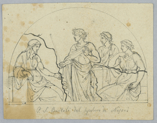 A hemispherical outline. At left, a seated female figure with outstretched hand. At right, a man and two women dressed in the antique style.