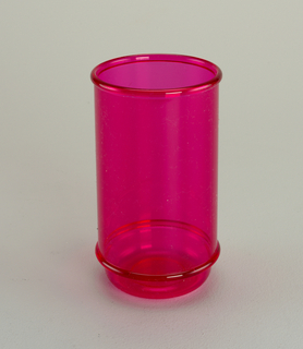 Tall transparent fuschia tumbler with molded horizontal bands