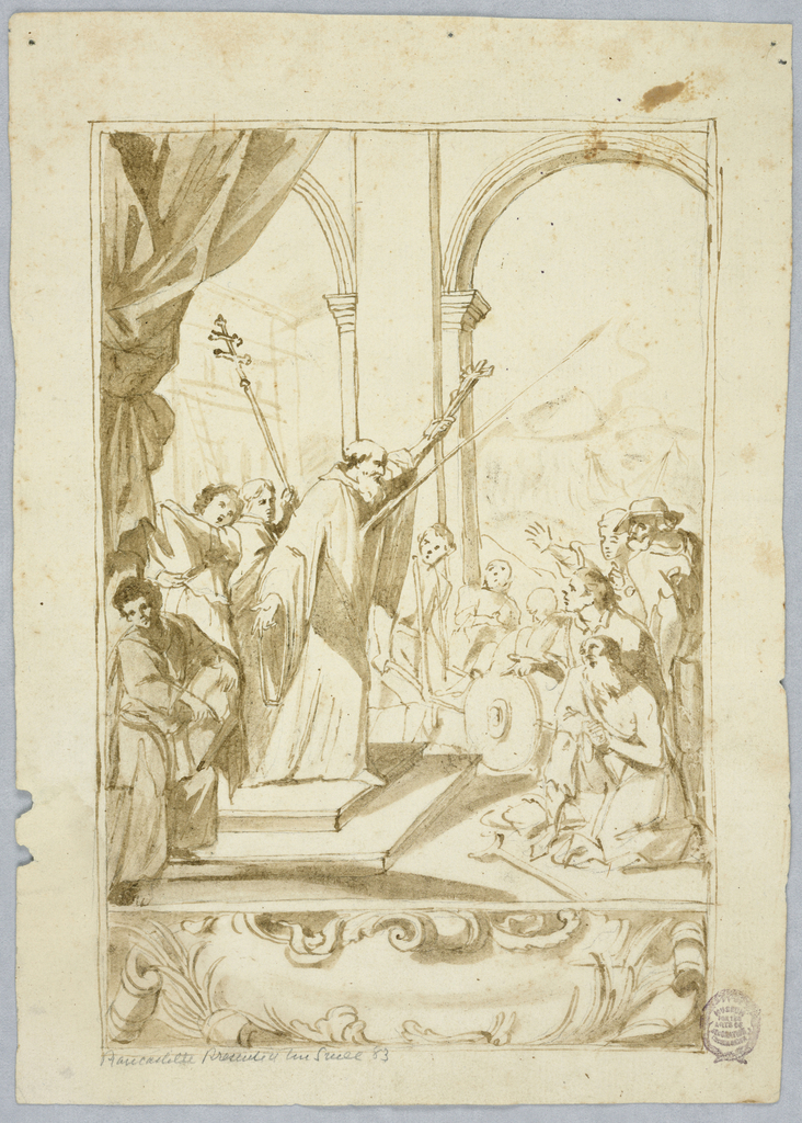 At top, a bearded man raises a cross. A spear projects from his chest. Panel of scrollwork below.