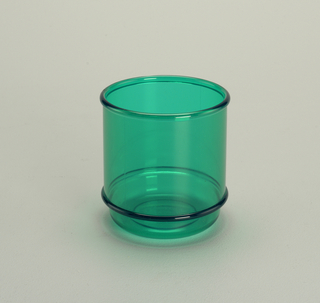 Transparent green low tumbler with molded horizontal bands
