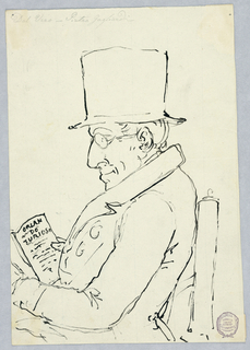 Seated man wearing top hat and glasses faces left, reading a book inscribed: Orlando Furioso (an Italian epic poem).