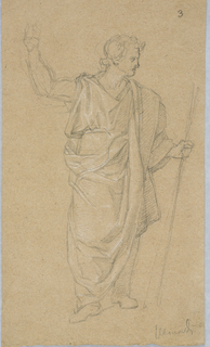 Young man in classical attire with walking stick, raising his right hand.