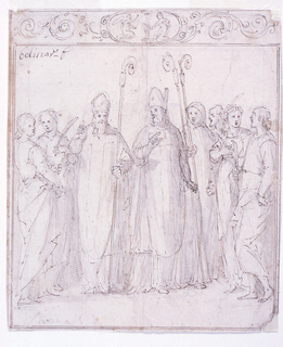 Drawing, Augustine, Ambrose, and Other Saints