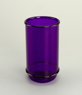 Transparent purple tall tumbler with molded horizontal bands