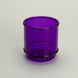 Transparent purple low tumbler with molded horizontal bands