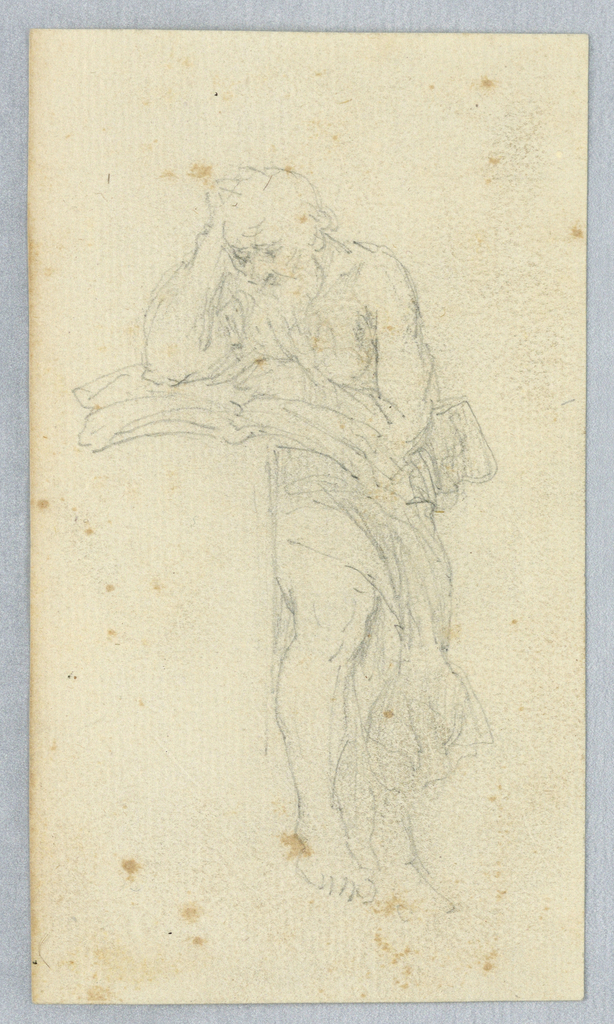 Loose sketch of Saint Jerome, shown seated and reading a book.